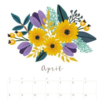 Printable April 2018 Calendar Monthly Planner - Flower ...