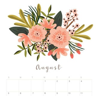 Printable August 2018 Calendar Monthly Planner - Flower ...