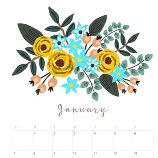 Printable January 2018 Calendar Monthly Planner - Floral Design ...