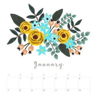 Printable January 2018 Calendar Monthly Planner - Floral Design ...