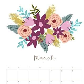 Printable March 2018 Calendar Monthly Planner - Flower ...