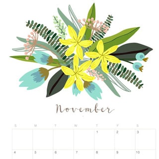 printable november 2018 calendar monthly planner floral design a piece of rainbow