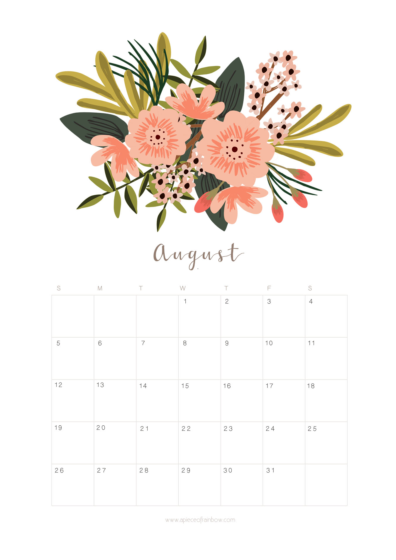 graphic relating to Printable Monthly Calendar August titled Printable August 2018 Calendar Month-to-month Planner - Flower