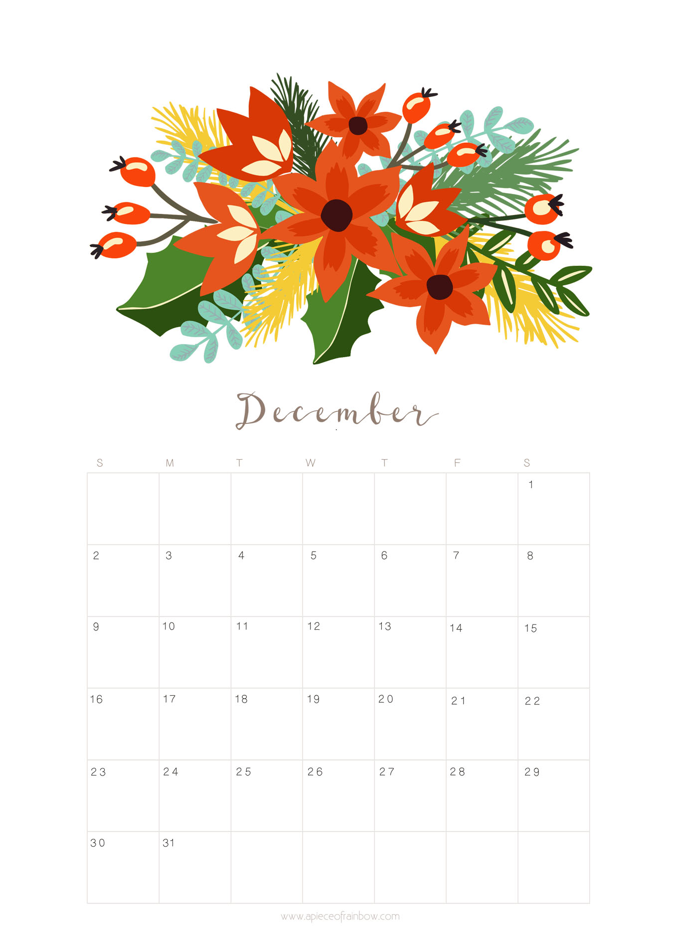 Printable December 2018 Calendar Monthly Planner Floral Design A