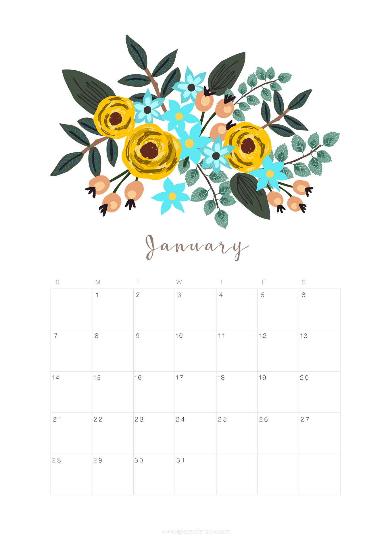 free printable monthly calendars 2018