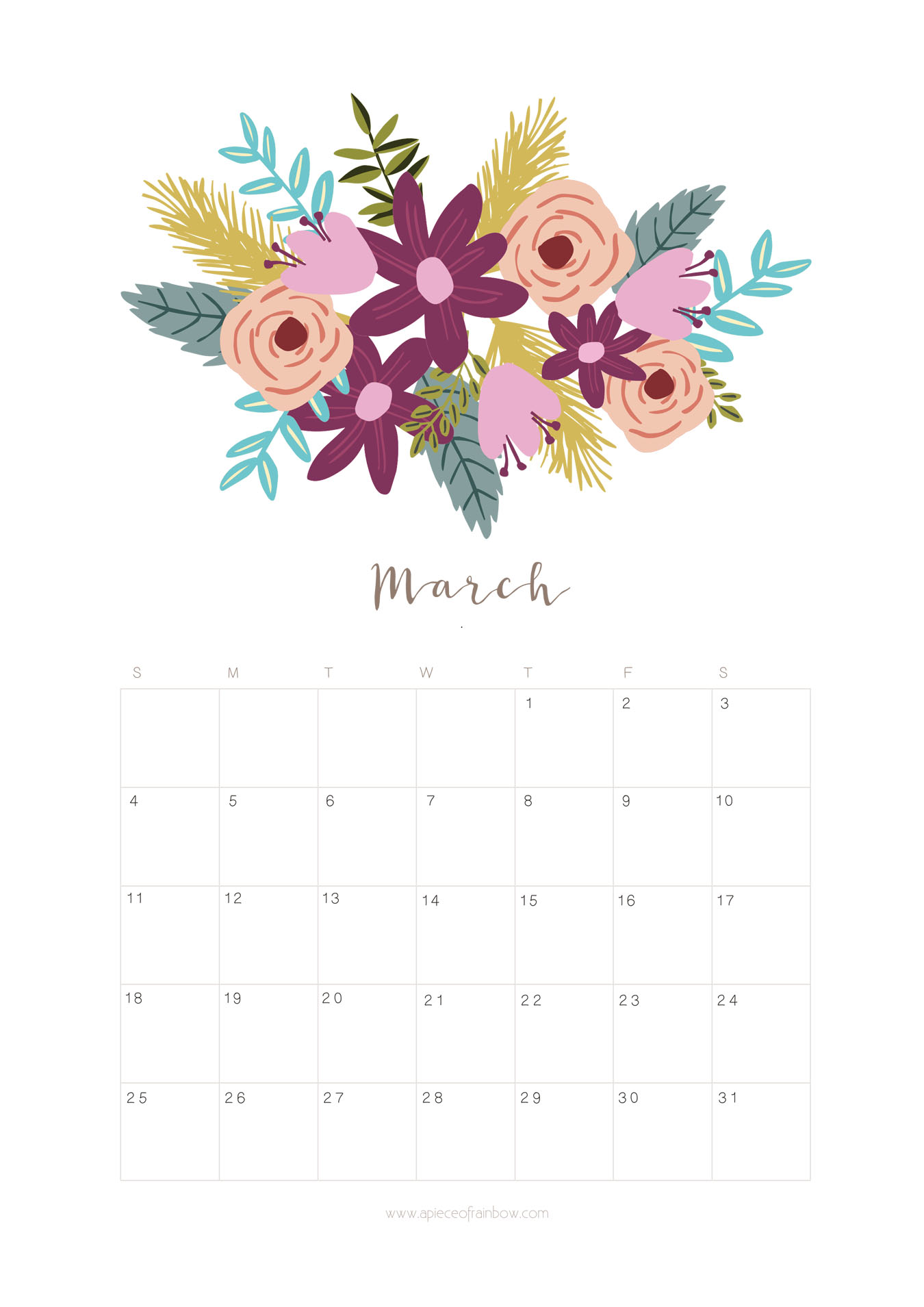 here is the free printable march 2018 calendar and monthly planner with lovely floral designs for you to download personal use only enjoy