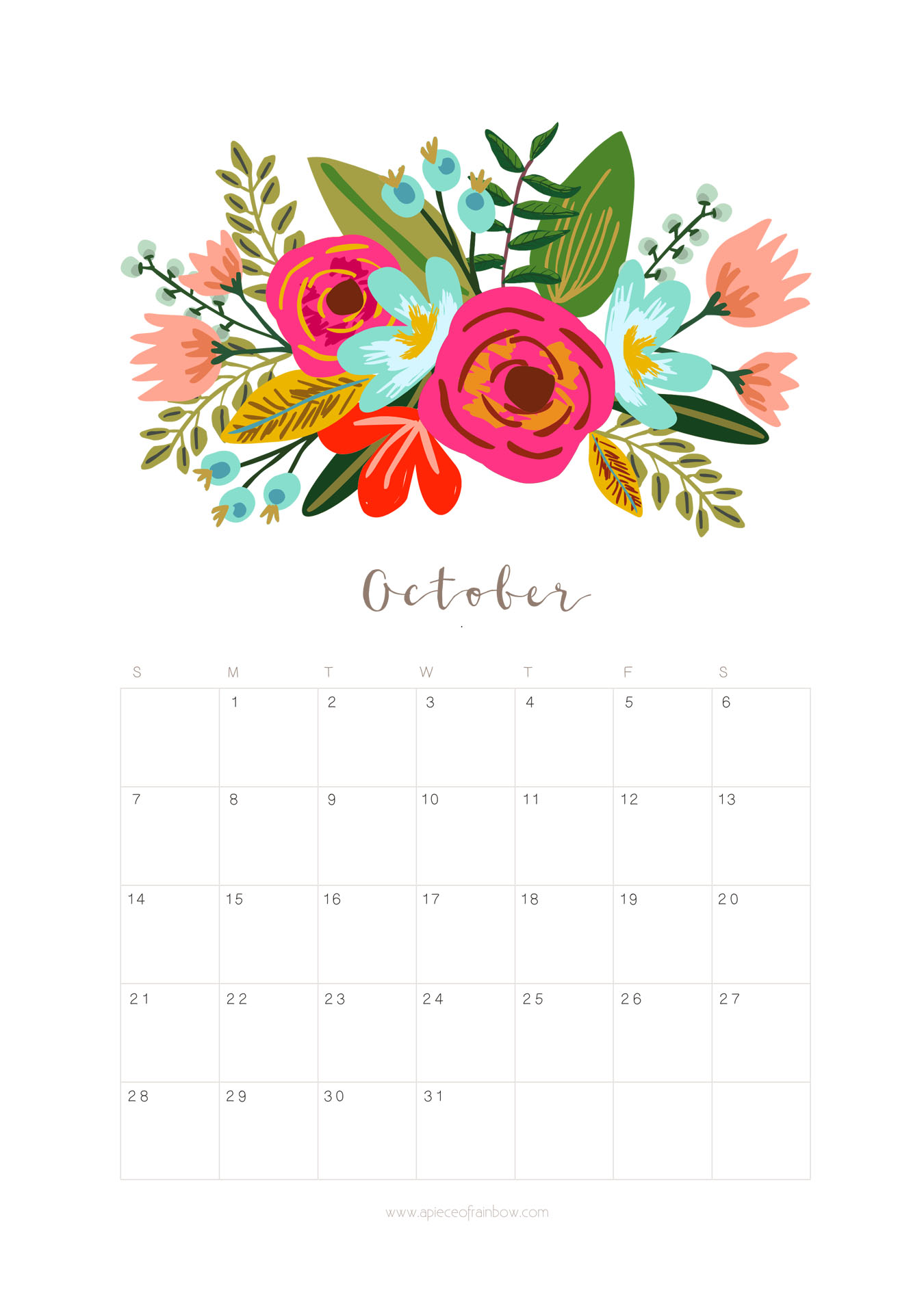Printable October 2018 Calendar Monthly Planner Floral Design A