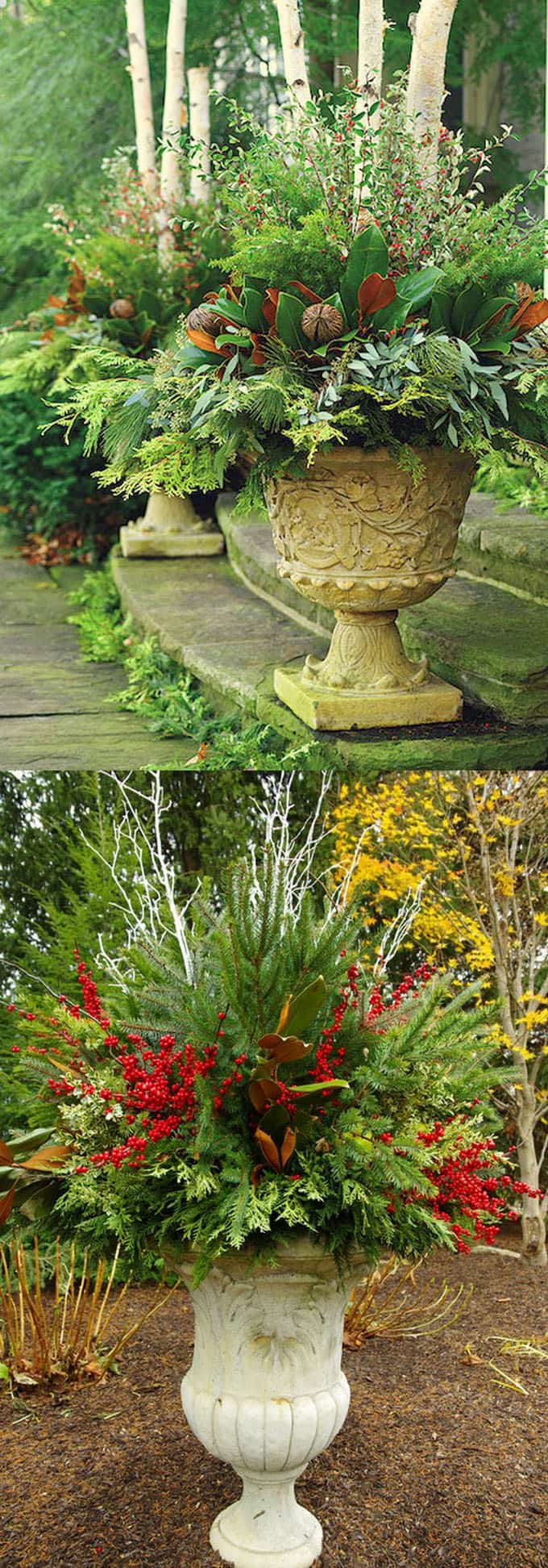 how to create colorful winter outdoor planters and beautiful christmas planters with plant cuttings and decorative - Natural Outdoor Christmas Decorations