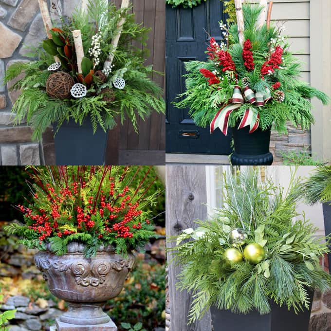 24 Colorful Winter Planters Christmas Outdoor Decorations A Piece Of Rainbow