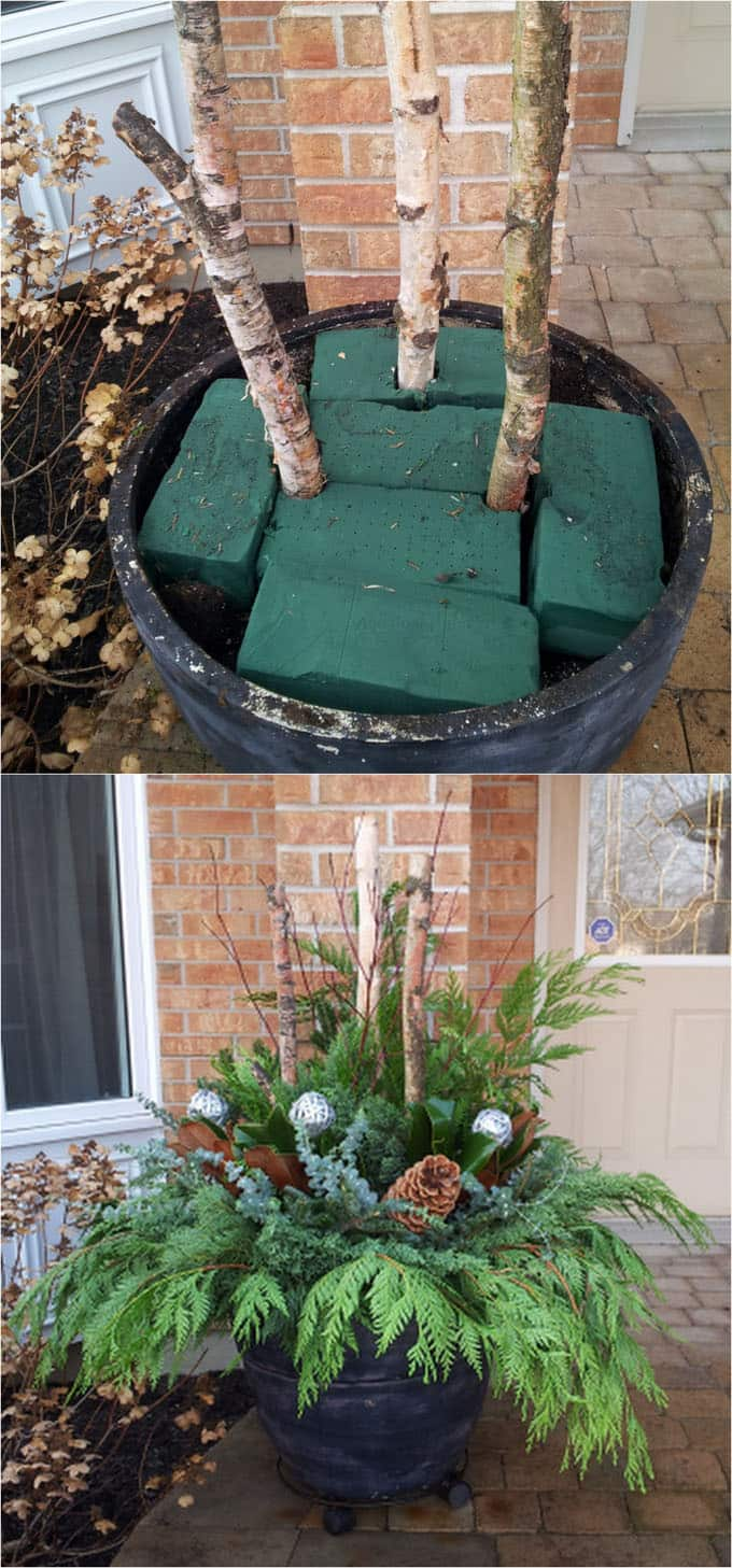 24 colorful outdoor planters for winter and christmas decorations how to make an outdoor planter arrangement workwithnaturefo