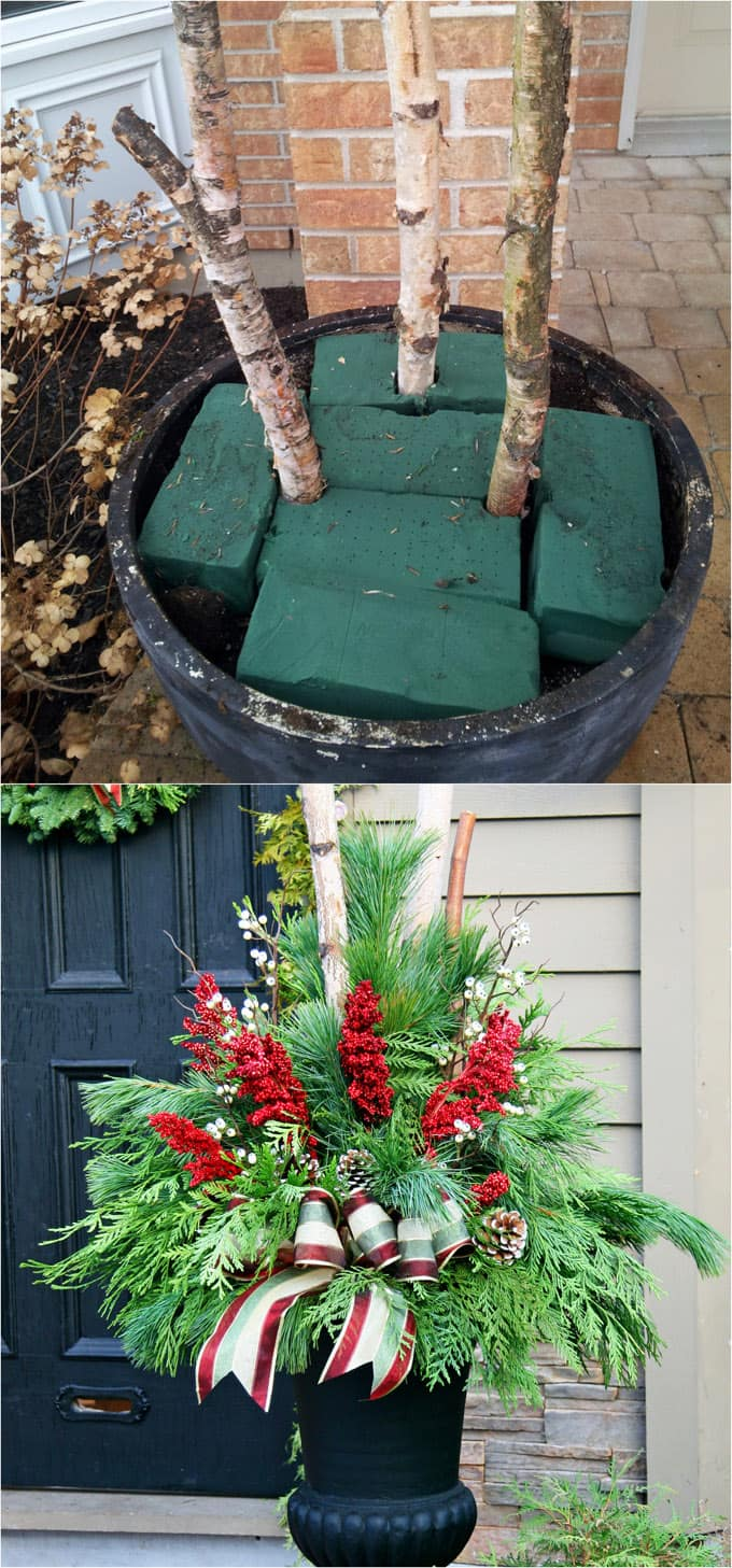 How To Create Colorful Winter Outdoor Planters And Beautiful Christmas  Planters With Plant Cuttings And Decorative