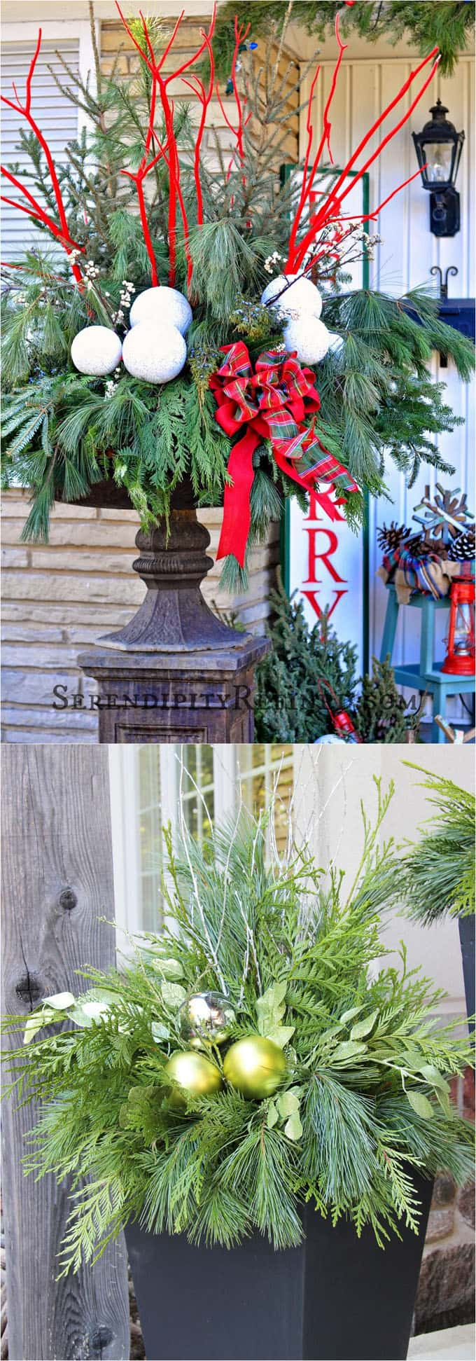 24 Stunning Christmas pots and planters to DIY for almost free! How to create colorful winter planters as beautiful Christmas outdoor decorations, with evergreens, berries, pinecones, branches, & creative elements! - A Piece of Rainbow #containergardening #planters #pots #plants #christmas #christmasdecorations #christmasideas #thanksgiving #holiday #gardens #patio #patiodesign #backyard #curbappeal #diy #gardening #gardeningtips #gardendesign #gardenideas #homedecor #homedecorideas