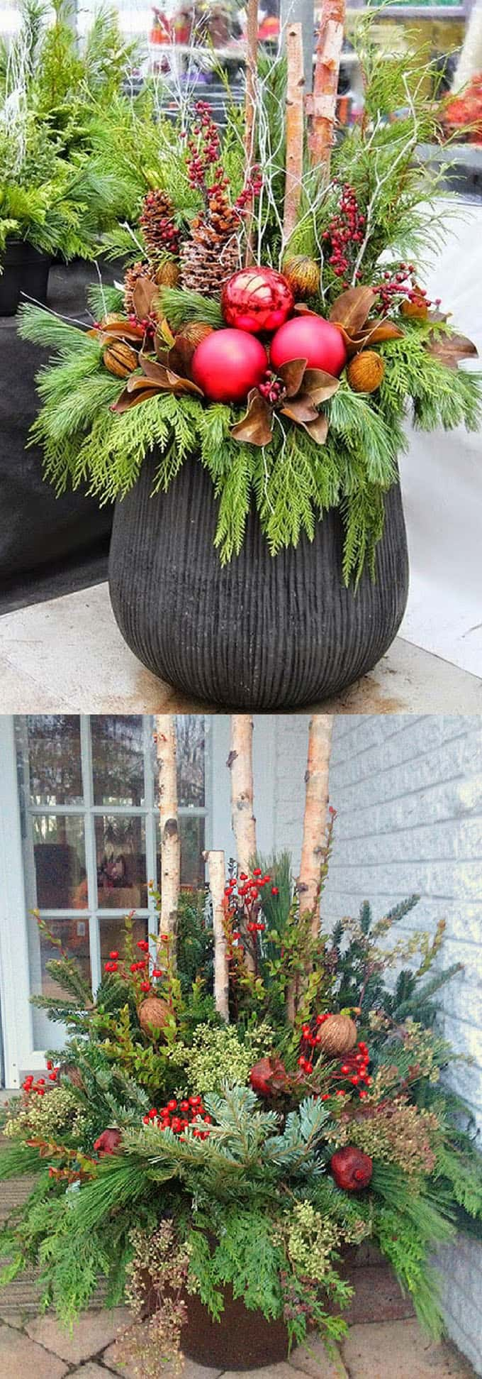 24 Colorful Winter Planters & Christmas Outdoor Decorations ...