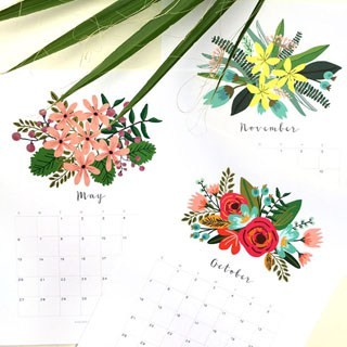 Beautiful Floral 2018 Calendar Monthly Planner Printables A