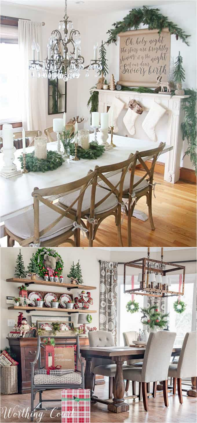Mini Christmas Wreaths And Tabletop Trees Are Great For Decorating Kitchen Shelves Dining Tables Via The Rustic Life