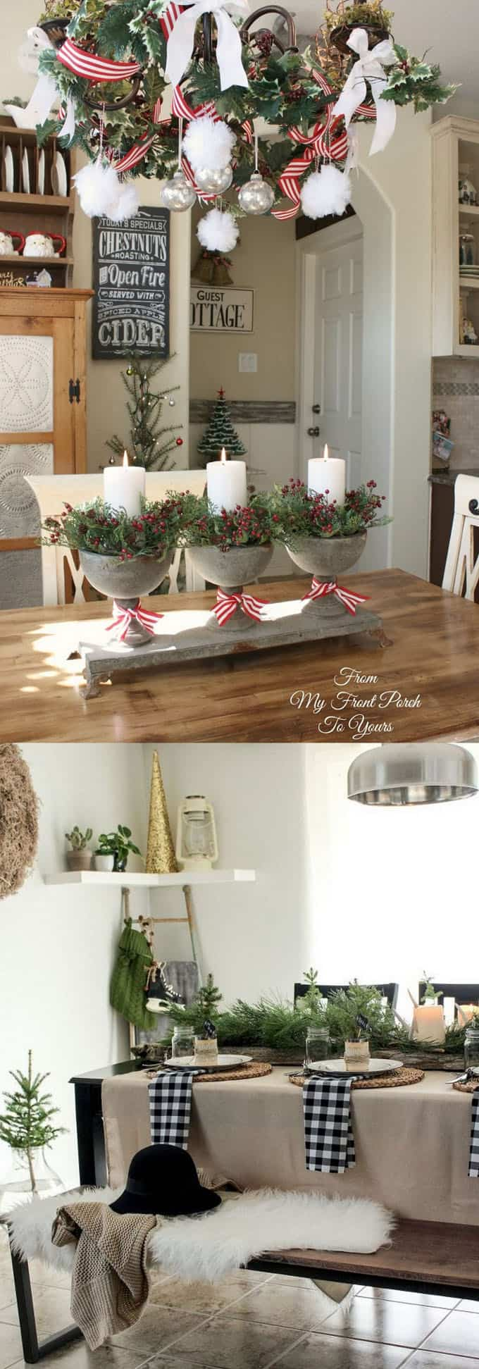 Look For Ways To Add Festive Christmas Decorations Not Just On A Kitchen Table But Also Above And Around The Via From My Front Porch Yours