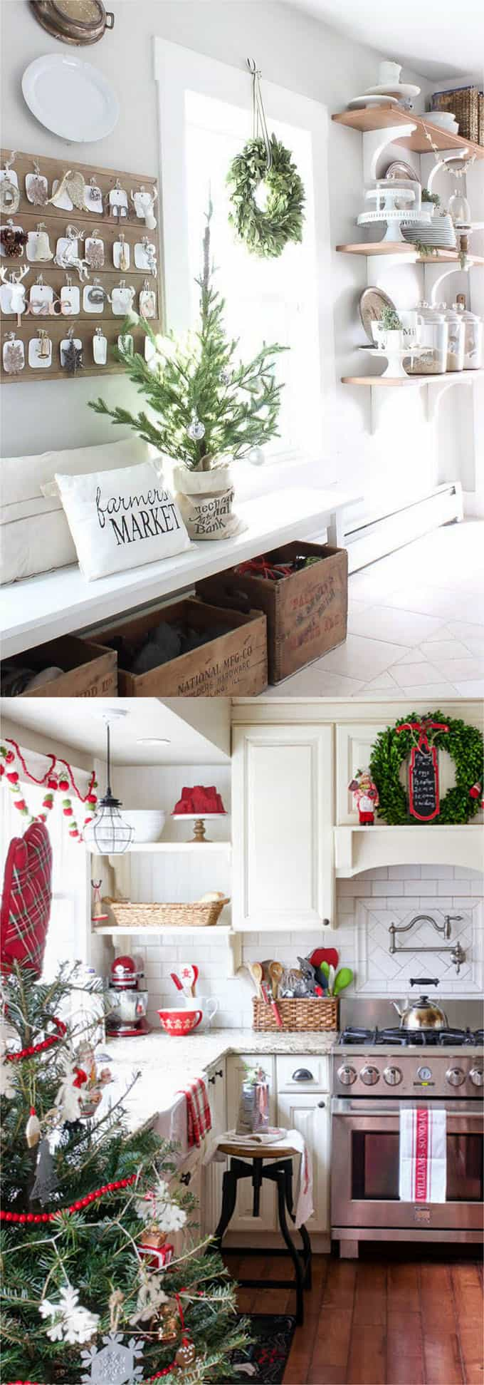 Notice The Beautiful Details In These Two Christmas Kitchens : Wreaths On  The Windows And Cabinet Doors, White And Red Kitchen Towels, Small Piece Of  ...