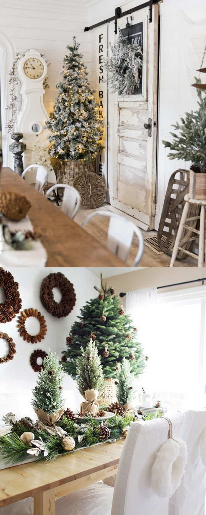 Beautiful farmhouse Christmas kitchens decorated with just green neutrals and white! ( via Liz Marie | Paint Me Pink ) & 100+ Favorite Christmas Decorating Ideas For Every Room in Your Home ...