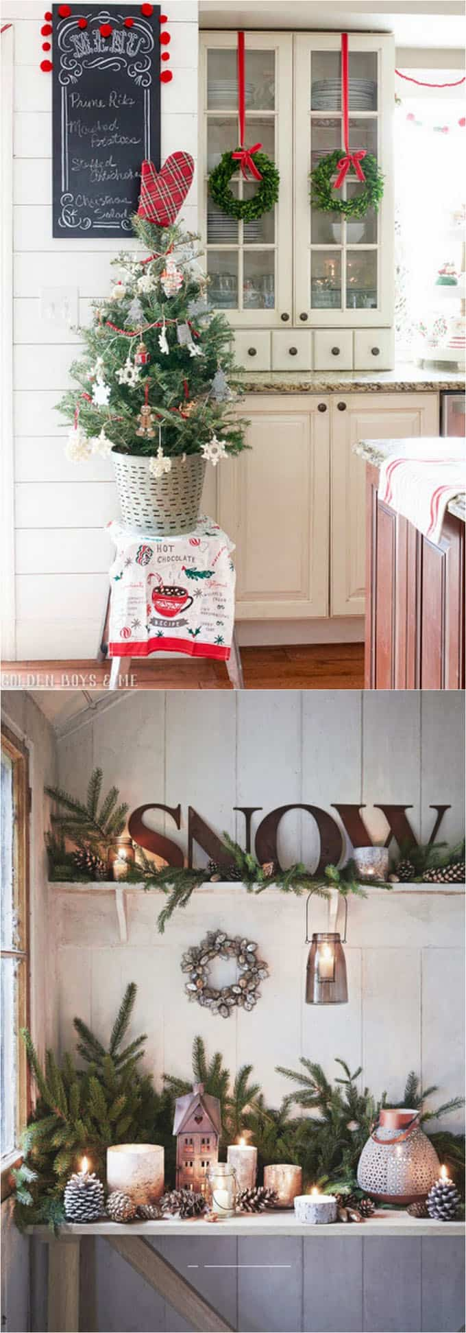 How to decorate kitchen cabinets and shelves for Christmas. & 100+ Favorite Christmas Decorating Ideas For Every Room in Your Home ...