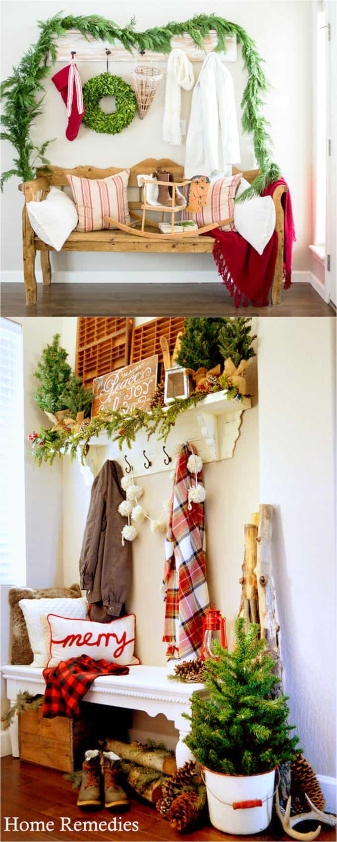 Simple ways to create a beautiful Christmas entryway  start with a bench or table add a few evergreen garlands and wreaths red and white pillows and ... & 100+ Favorite Christmas Decorating Ideas For Every Room in Your Home ...