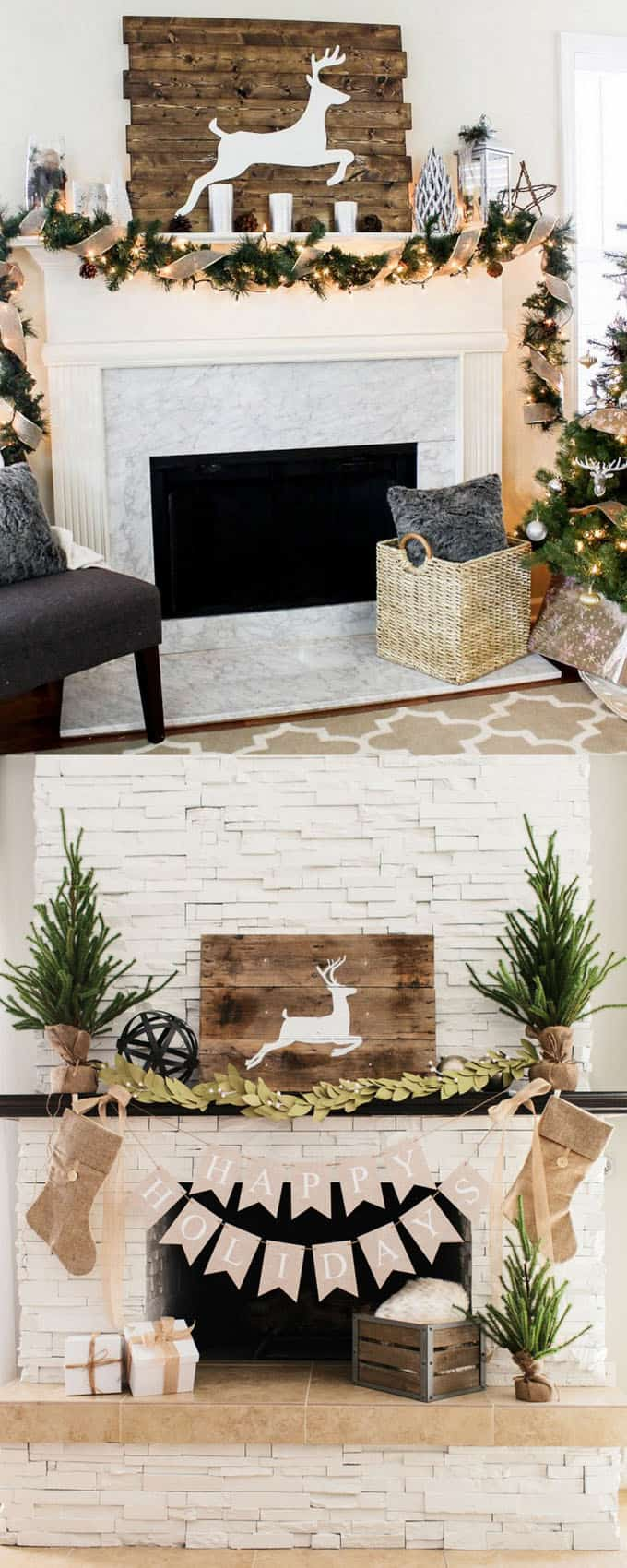 Woodland Christmas fireplace decorations & 100+ Favorite Christmas Decorating Ideas For Every Room in Your Home ...