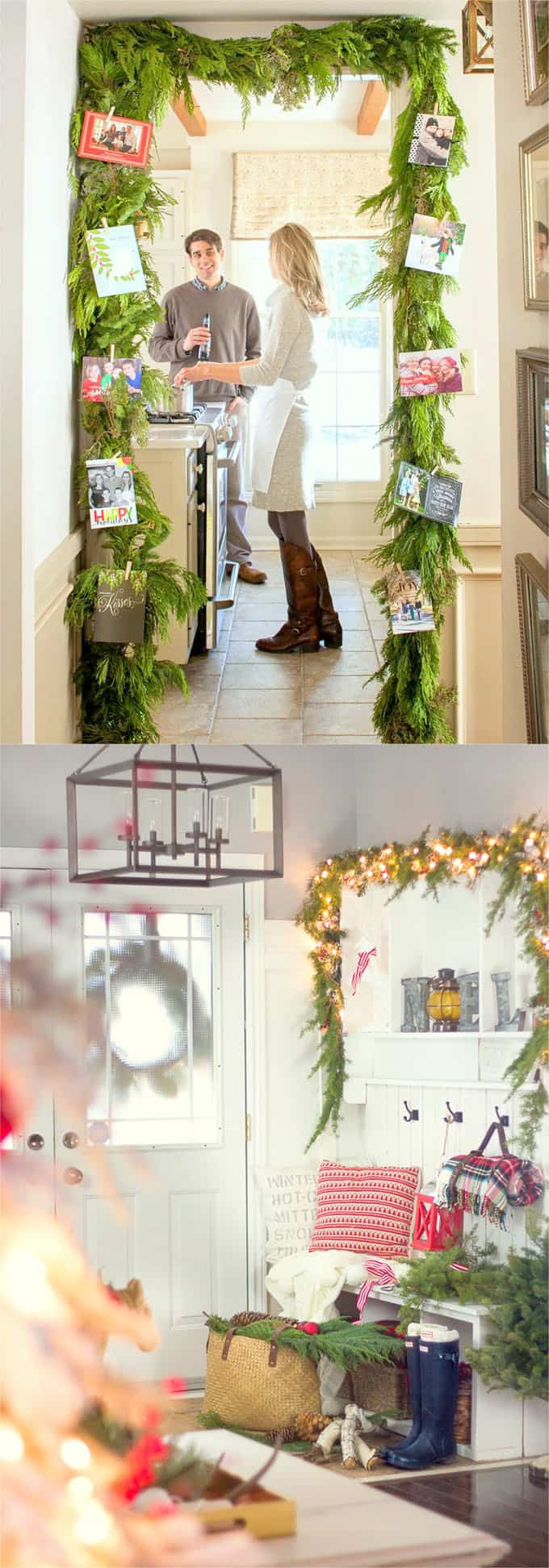 Create An Inviting Christmas Entryway With Garlands.