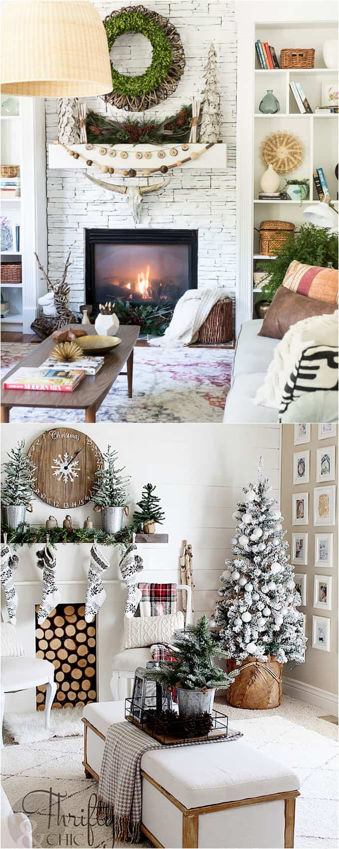 Symmetry And Repetitions Are Used Beautifully In The Above Examples Such As  The Pair Of Small Christmas Trees On The Mantle, The Multiple Garlands, ...