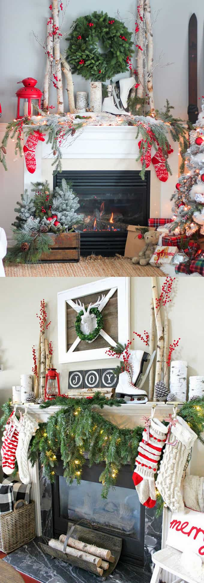 The Two Beautiful Christmas Fireplace Mantels Are Decorated With Ojects That Unmistakably Wreaths At Center Flanked By Irch Logs