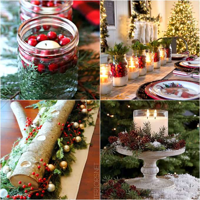 diy christmas table decorations easy centerpiece in 10. Black Bedroom Furniture Sets. Home Design Ideas