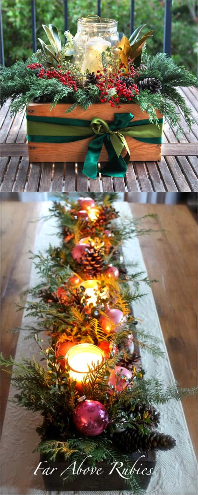easy DIY Thanksgiving and Christmas table decorations & centerpieces with candles and pine branches