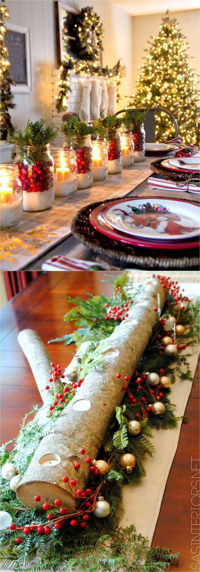 DIY Christmas centerpiece with candles and red berries