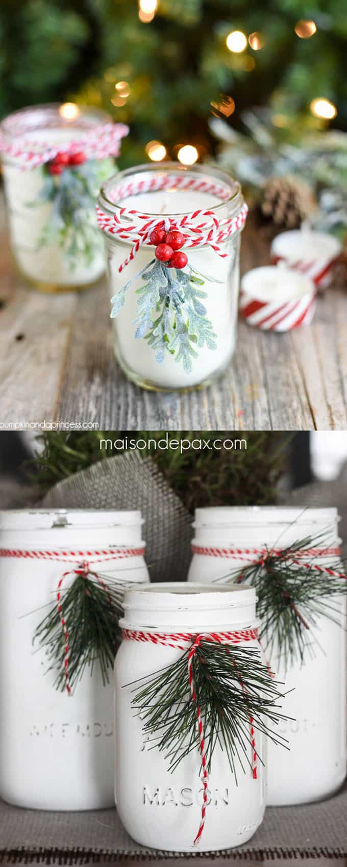 white mason jar Christmas table decorations & centerpieces!