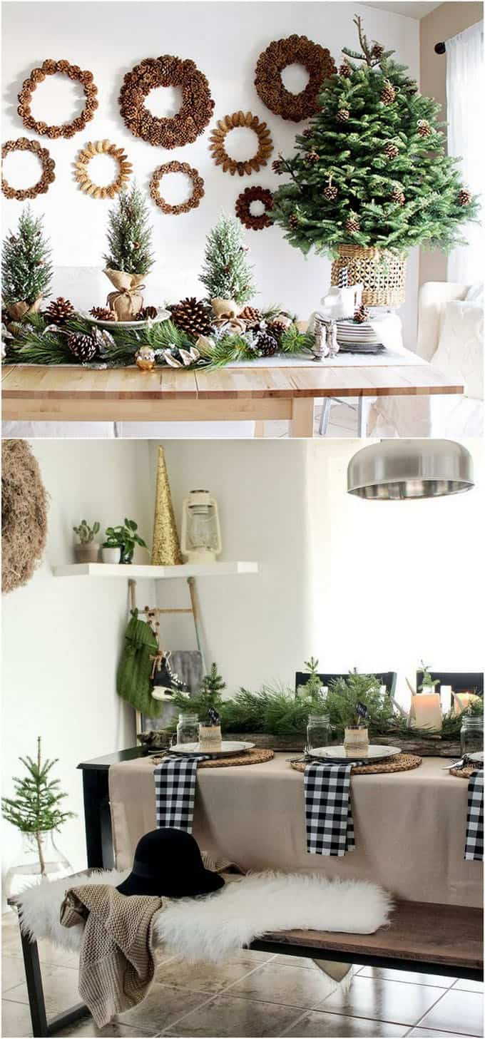 beautiful DIY Christmas table decorations & centerpieces in farmhouse kitchen using pine cones