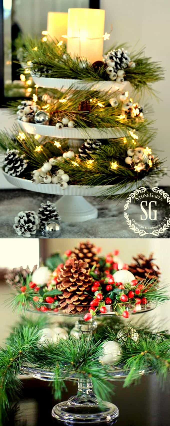 27 gorgeous & easy DIY Thanksgiving and Christmas table decorations & centerpieces! Most can be made in less than 20 minutes, from things you already have! - A Piece of Rainbow #DIYDecor #holiday #diy #christmas #christmasdecor #christmasideas #thanksgiving #homedecor #homedecorideas #crafts #crafting #craftsforkids #farmhouse #vintage #farmhousestyle #farmhousedecor #rusticdecor #partyideas #centerpiece #tabledecor