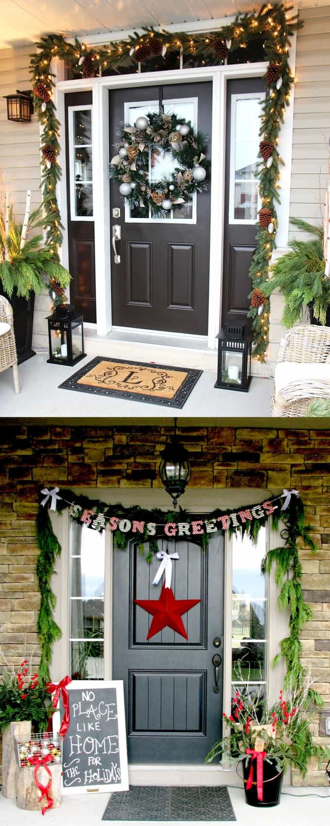 32 beautiful christmas porches front doors how to create gorgeous and playful diy outdoor - Outdoor Christmas Decoration Ideas
