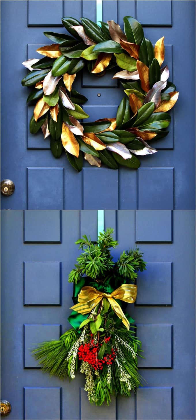 32 beautiful Christmas porches & front doors: how to create gorgeous and playful DIY outdoor Christmas decorations such as garlands, wreaths, lights, ornaments, Christmas pots, and more! - A Piece of Rainbow #homedecor #homedecorideas #christmas #christmasdecor #christmasideas #thanksgiving #gardens #patio #patiodesign #holiday #backyard #curbappeal #diycrafts #diy #porch #outdoor #outdoor lighting #christmascrafts