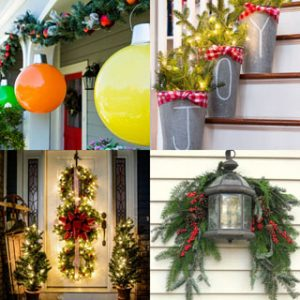 32 beautiful Christmas porches & front doors: how to create gorgeous and playful DIY outdoor Christmas decorations such as garlands, wreaths, lights, ornaments, Christmas pots, and more! - A Piece of Rainbow