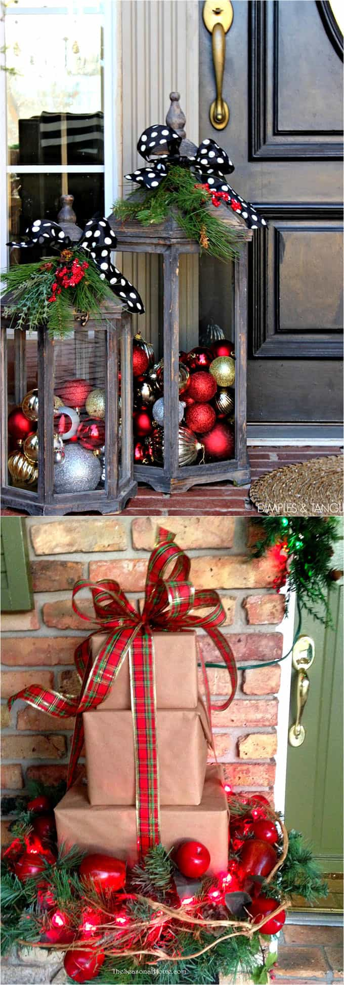 Wood lanterns filled with Christmas ornaments, or gift boxes tied up with  ribbons, these are a few of my favorite things! =) ( via Dimples & Tangles  | The ...