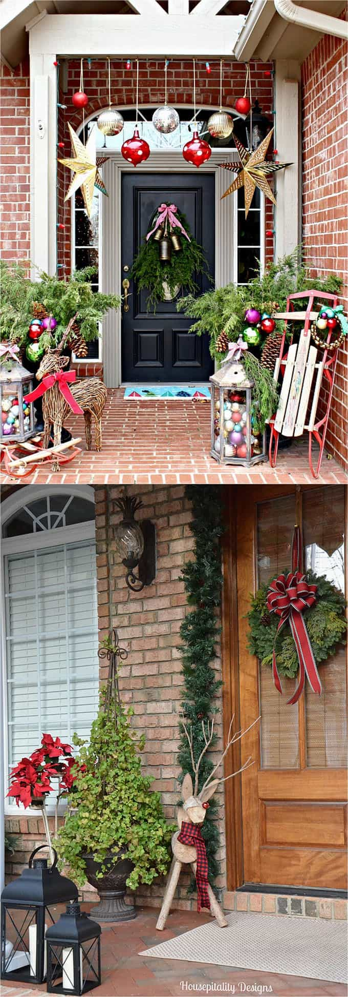 32 beautiful christmas porches front doors how to create gorgeous and playful diy outdoor - Christmas House Decoration Ideas Outdoor
