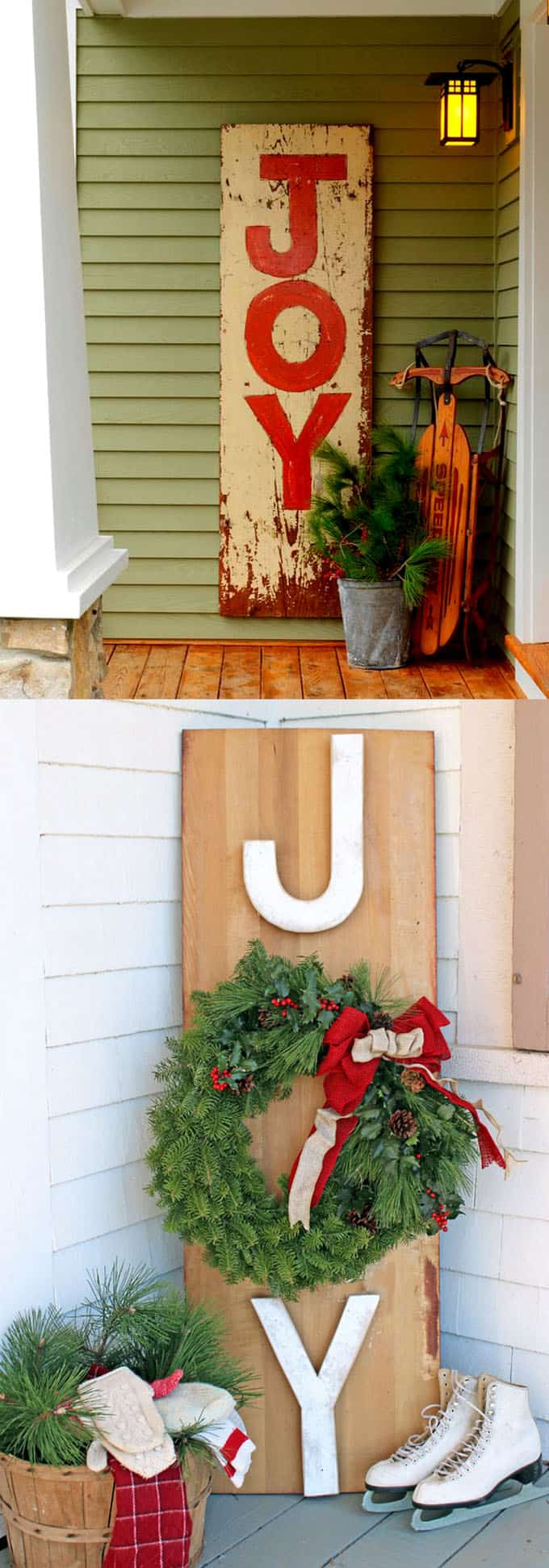 Painted wood signs in outdoor Christmas decorations & Gorgeous Outdoor Christmas Decorations: 32 Best Ideas u0026 Tutorials ...