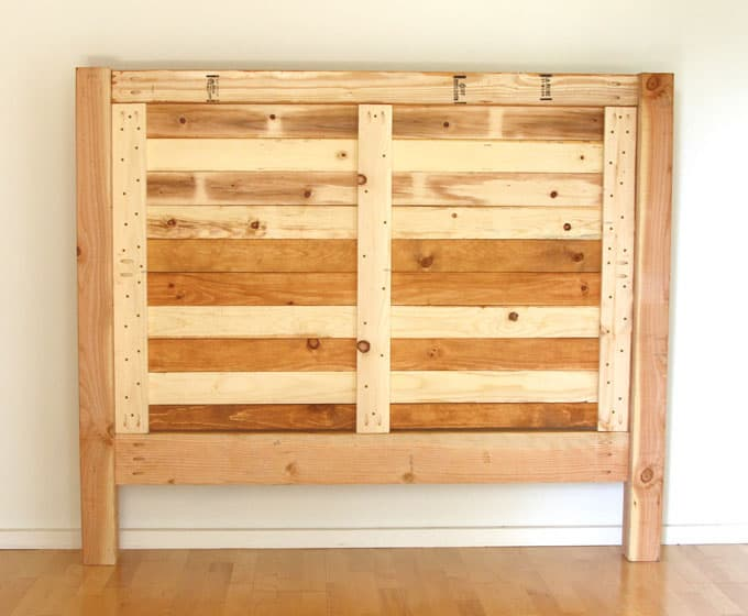 Build a beautiful wood DIY headboard: detailed tutorial & free plans for twin, queen & king size headboard. Lots of tips on woodworking & natural finishes. A Piece of Rainbow