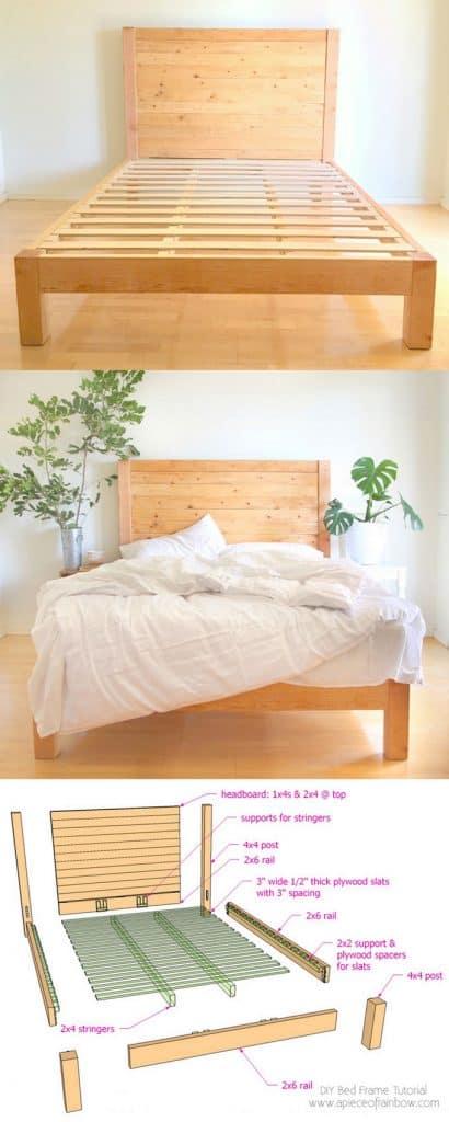 DIY bed frame & wood headboard in modern farmhouse bedroom