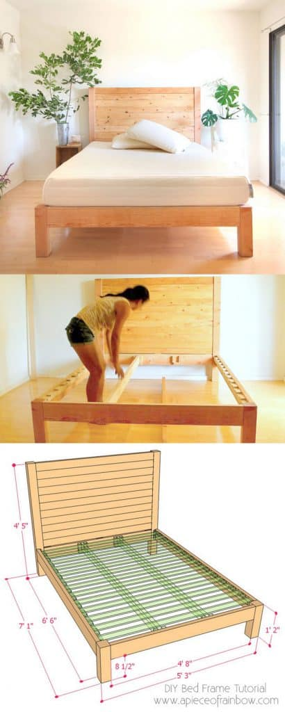 building a DIY bed frame & wood headboard with free plan