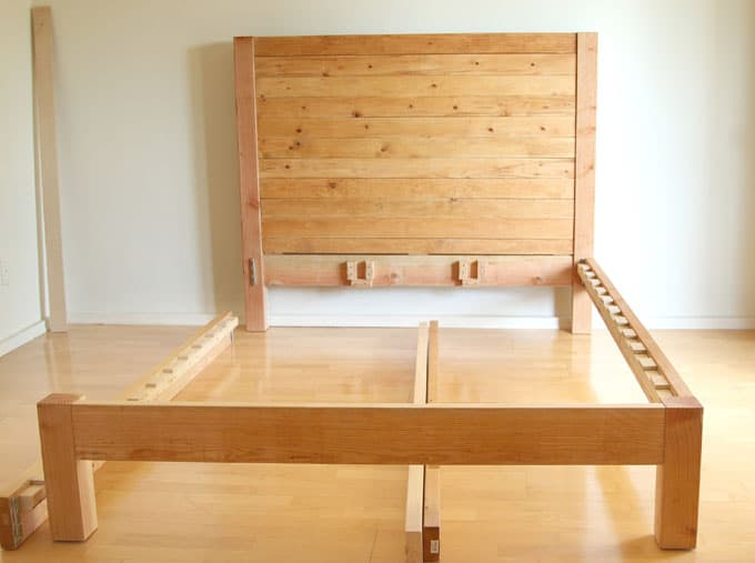 DIY Bed Frame and Wood Headboard - A Piece Of Rainbow