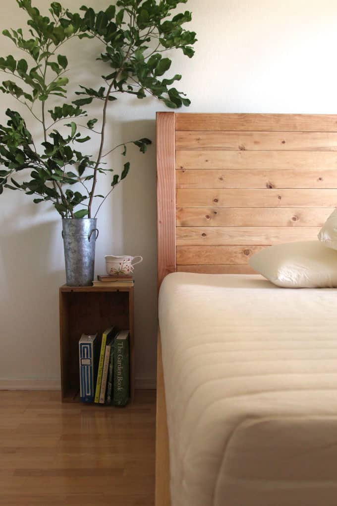 DIY queen bed frame & wood headboard with Free DIY bed plan