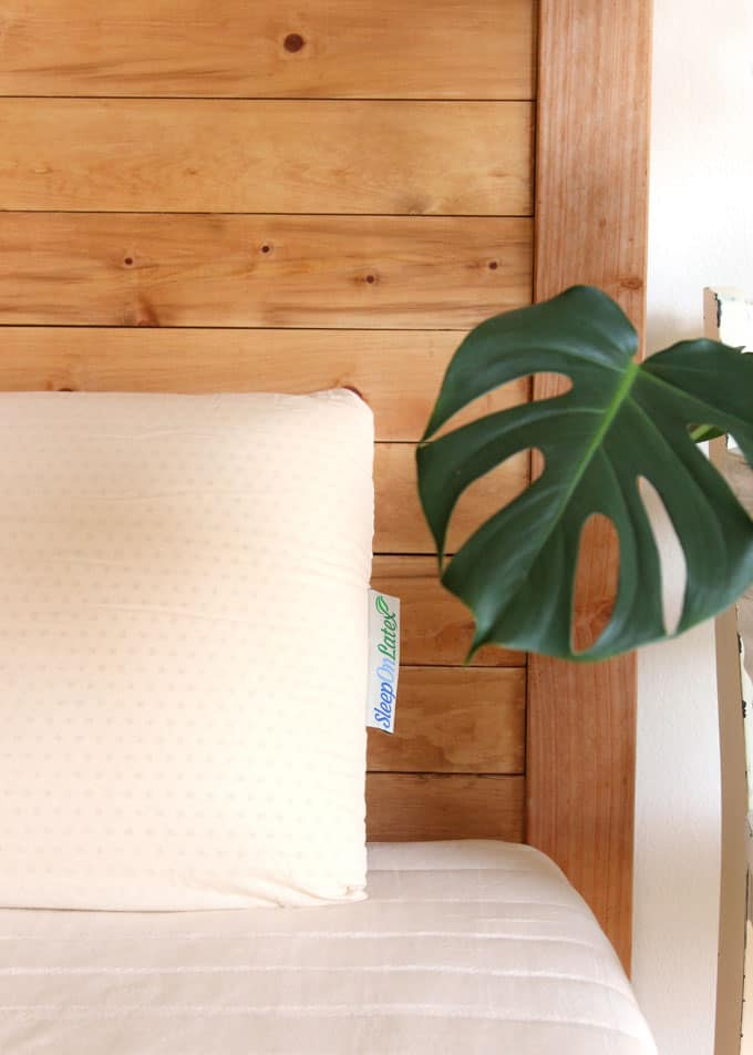 DIY wood headboard with latex pillow
