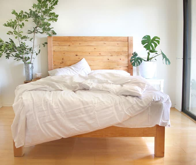 DIY simple bed frame & wood headboard modern farmhouse and pottery barn west elm style