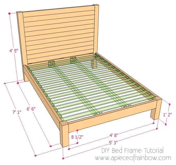 free plan for DIY wooden platform bed frame with headboard