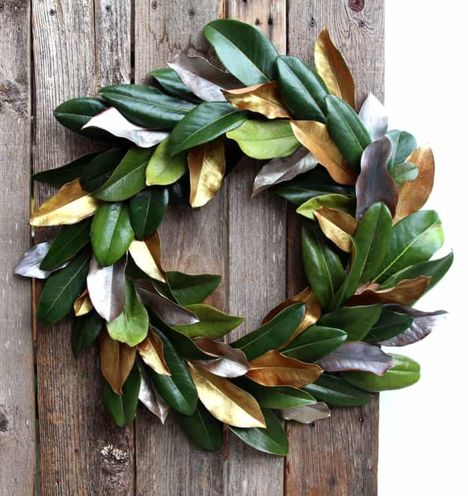 farmhouse DIY magnolia wreath great for weddings, Christmas, and everyday decorations