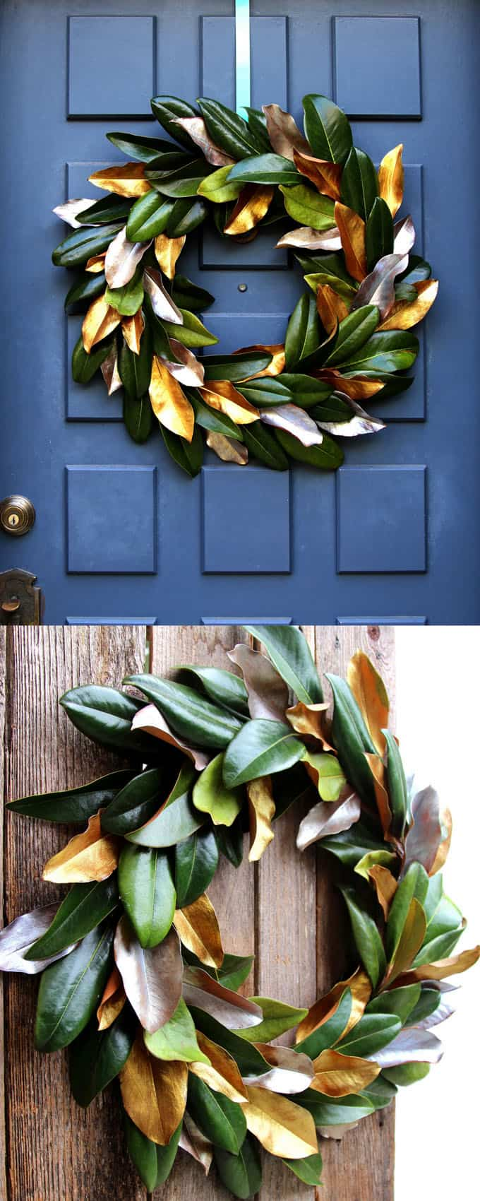 boh DIY magnolia wreath on deep blue door